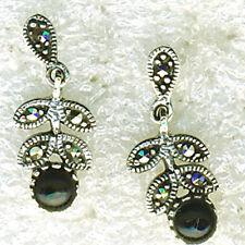 """925 Sterling Silver Black Onyx & Marcasite Drop Dangle Earrings L3/4"""" 22mm"""