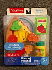 FISHER PRICE PRETEND PLAY FOOD COUNTING PIZZA SET VEGETABLES JUICE BOX 9 PIECES