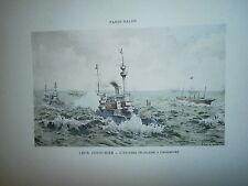 Gravure 19°  Léon Couturier l'escadre Française à Cherbourg
