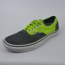 Vans Mens Size 6.5 Medium Lime Green Gray Suede Canvas Casual Sneakers Skate