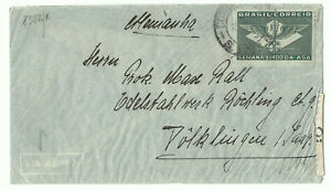Brazil airmail cover to Germany ~1941 censored