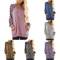 Leopard Womens Tops T-Shirt Casual Basic Sweater Raglan Long Tee Blouse Sleeve
