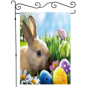 Welcome Easter Bunny and Eggs Garden Flag Double-sided House Decor Yard Banner