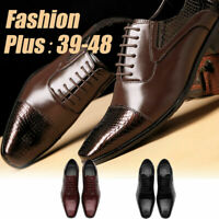 Men's Casual Lace up Leather Shoes Pointed Business Formal Dress Brogues Oxfords