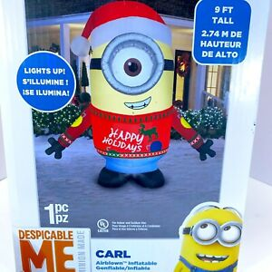 Gemmy Despicable Me 9Ft Airblown Inflatable Minion Carl Santa Hat Happy Holidays