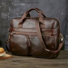 US Mens Genuine Leather Briefcase Business Laptop Messenger Shoulder Bag Handbag