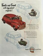 1947 Ford V-8 - Big 11x14 Vintage Advertisement Print Car Ad LG32