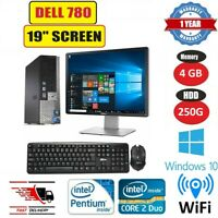 """FAST DELL OPTIPLEX 780 ULTRA SFF PC COMPUTER DUAL CORE 4GB 250GB 19"""" TFT WIN 10"""