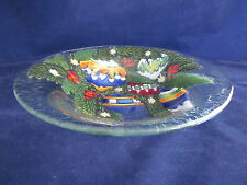 "PEGGY KARR GLASS ART Bowl 11"" Christmas Tree Ornaments ~ EXCELLENT"