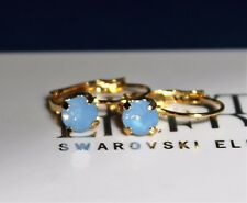 Gold Plated Leverback Earrings with 6mm Air Blue Opal Swarovski Crystal Element