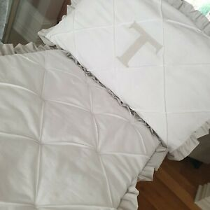 Cotbed Pillowcase Personalised with colour Ruffles Lattice Pintuck Design White