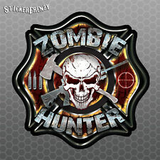 Zombie Hunter Firefighters Badge Sticker - Vinyl Decal car truck dead walking