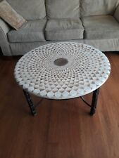"""Vintage Maitland-Smith Hand Made """"Egg Shell"""" Round Cocktail / Coffee Table"""