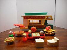 vintage fisher price little people camper lot boy girl motorcycle grill
