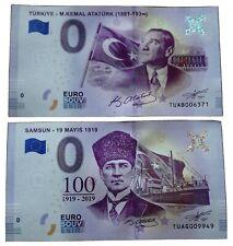 2 X 0 Euro Souvenir Turkey - TUAB / TUAG - euro souvenir - Different Serial