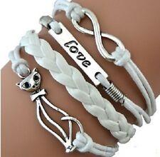 LEATHER LOVE INFINITY CAT WRISTBAND WRIST STRAP CHARM BRACELET CHARM WHITE A58