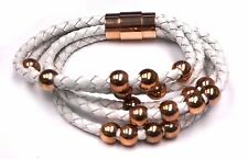 White Braided Natural Leather and Rose Plated Stainless Steel Bracelet WOW
