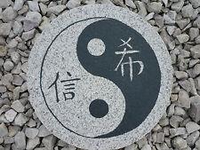 """Trittstein Granit """" Yin Yang""""  Gartendeko, Koiteich , Feng Shui Steinplatte 35cm"""