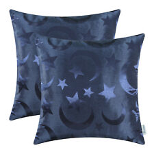 Set of 2 Navy Blue Cushion Covers Pillows Shells Stars Moons Decor Home 45x45cm