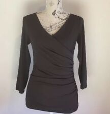 JACQUI E - Size S - Ruched Women's Brown Top - Sheer Back - Long Sleeved