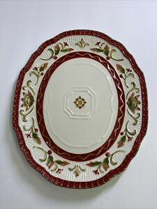 Fitz and Floyd Woodland Holiday 12in Oval Platter Plate Serving Winter Floral