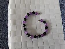 Damen-Armband, schwarz-lila, Länge 20cm, Magnetverschluss