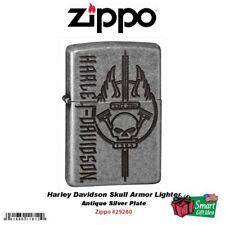 Zippo Harley Davidson Skull Armor Lighter, Antique Silver Plate #29280