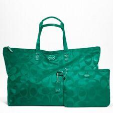 Coach XL Jade Green Sig. Nylon Packable Getaway Weekender Tote Travel Bag F77316