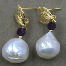 Baroque pearl earrings 13-14MM natural 18K south TwoPin Amethyst AAA GOLD