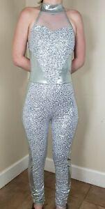 Balera Dancewear Pant Body Suit Size MA Spandex USA Silver Sequinned One PC_B19