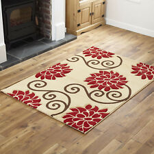 """Modern Small X Extra Large Soft Thick Beige Red Floral Carved Design Runner Rugs 120x170cm (4'x5'6"""")"""