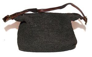 Lauren by Ralph Lauren Black Crochet Brown Faux Leather Strap Shoulder Hobo Bag