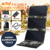 25W/30W/40W Folding Solar Panel USB Battery Charger Power Bank Outdoor Camping
