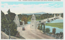 VIntage Postcard-Highway Bridge across Santa Ana River, Riverside, CA