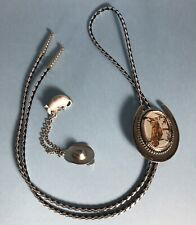Vintage Horse horseshoe Bolo Tie Armadillo Cowboy hat Brooch pin chain lapel LR