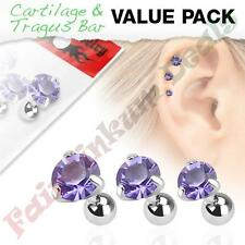 316L Surgical Steel Tragus/Cartilage Stud with Round Tanzanite Gem  3 Pack