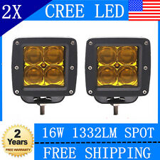 2x 16W CREE 5D LED Yellow Pod Spot Lights Flush Mount Driving Work Fog Light