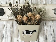 Metal Wall Hanging Farmhouse Decor Cow W/ Dried Floral Arrangement NEW!