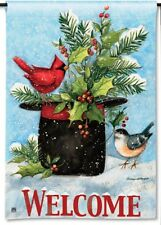 "12.5""x18"" Holly Hat Birds Welcome Message Christmas Small Decorative Banner Flag"