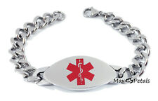 "DIABETES TYPE 1 Medical Alert ID Heavy Men's Bracelet 8"" Chain"
