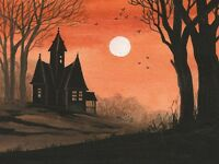 1.5x2 DOLLHOUSE MINIATURE PRINT OF PAINTING RYTA 1:12 SCALE HALLOWEEN LANDSCAPE