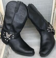 Vintage Texas Boot Co American Made Eagle Black Harness Motorcycle Boots Sz 12EE