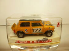 POLITOYS MINI COOPER - RALLY #177 - YELLOW 1:25 - GOOD CONDITION IN SHOW-CASE