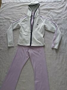 Women's Vintage Fila 3 Piece Warm Up Suit Light Purple Gray Full Zip