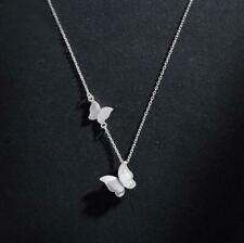 Double Butterfly Pendant 925 Sterling Silver SP Chain Necklace