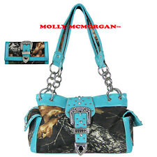TURQUOISE MOSSY CAMO RHINESTONE BUCKLE SHOULDER HANDBAG PURSE BLING WITH WALLET