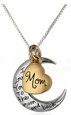 Mom I Love You To The Moon And Back Silver Gold Tone Necklace Love Holiday Gift