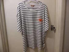 Avella 18 Navy and White striped Tshirt top rouched side new york NWT
