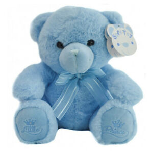 25cm Blue Teddy Bear New Born Baby Gift Soft Touch It's A Boy Little Prince