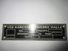ID Nameplate IFA VEB karosseriewerke Halle Wartburg 311 312 S40
